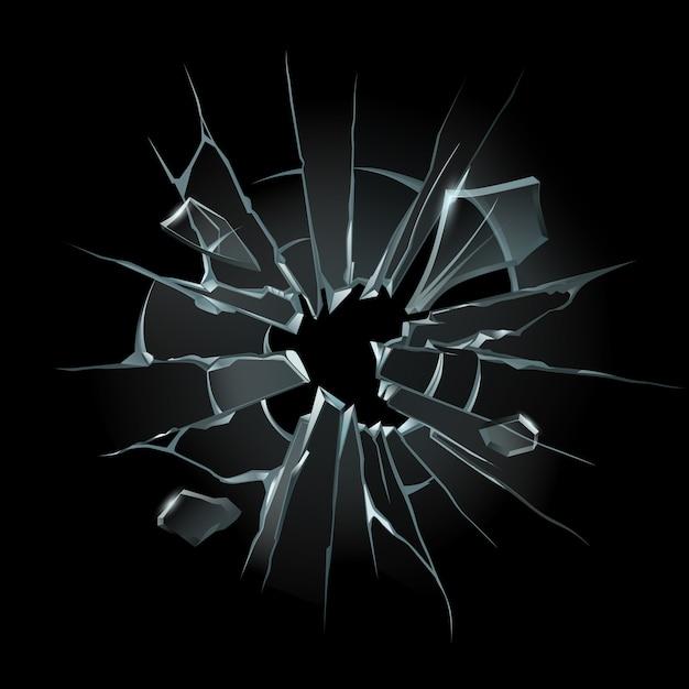 Vidrios rotos. parabrisas roto, vidrios rotos o ventanas rotas. fragmentos de la ilustración aislada de la pantalla de la computadora Vector Premium