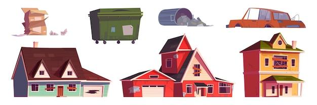 Viejo cubo de basura de casas abandonadas y coche roto vector gratuito