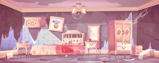 Viejo dormitorio sucio en estilo shabby chic vector gratuito
