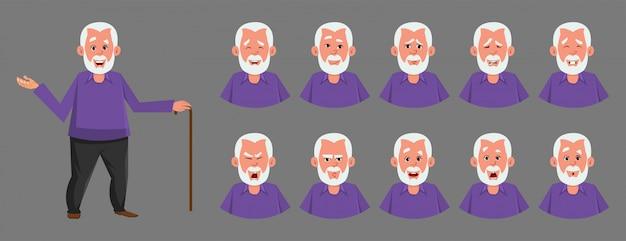 Viejo personaje con varias emociones faciales. Vector Premium