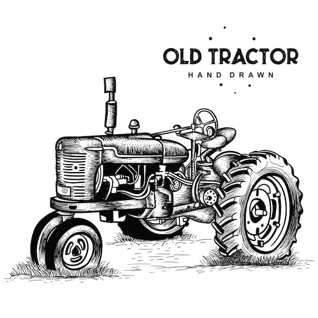 Viejo tractor oxidado Vector Premium