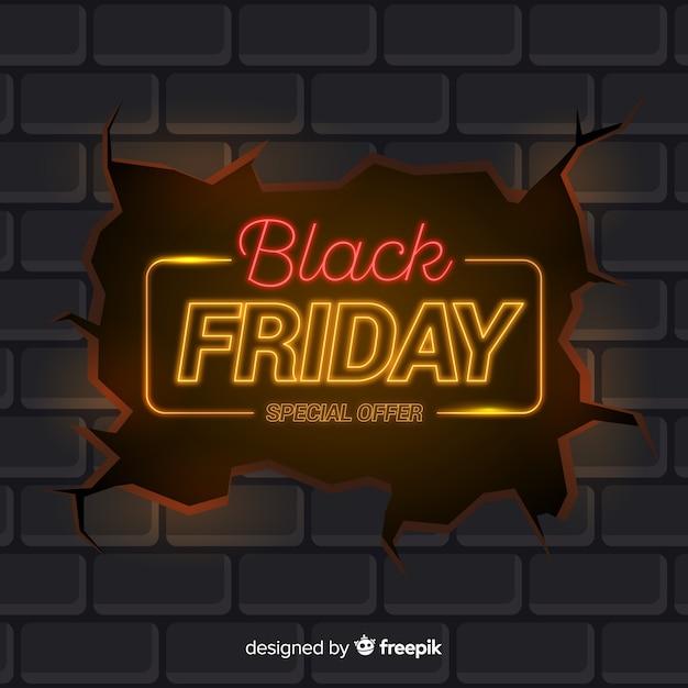 Viernes negro en diseño de neón vector gratuito