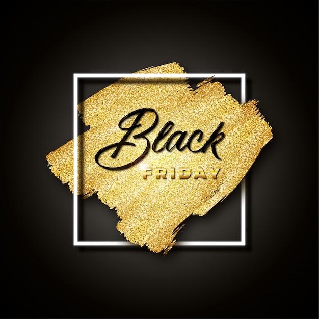 Viernes negro con purpurina dorada sobre negro. banner con pinceladas doradas y marco cuadrado blanco. Vector Premium