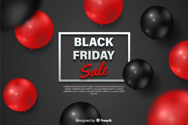 Viernes negro realista con globos vector gratuito