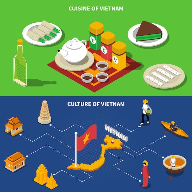 Vietnam cultura banners isométricos turísticos vector gratuito