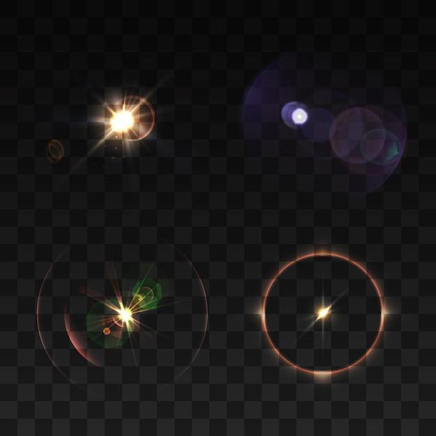 Vigas de lente y conjunto de color realista brillo aislado vector gratuito