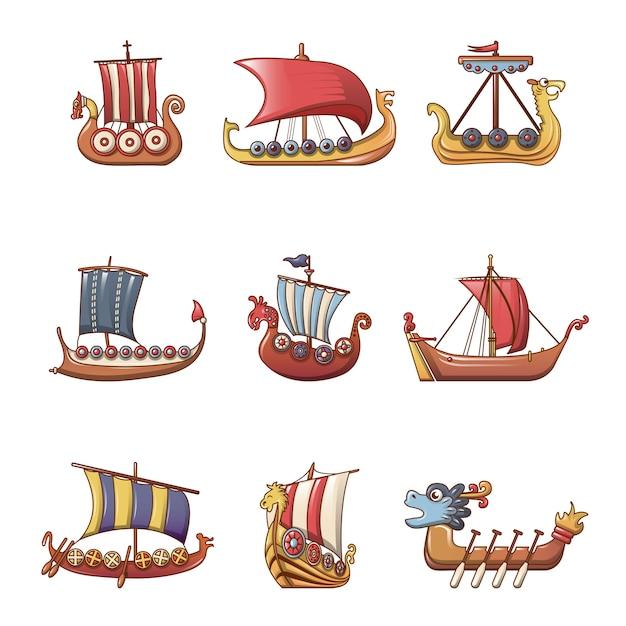 Viking barco barco drakkar conjunto de iconos Vector Premium