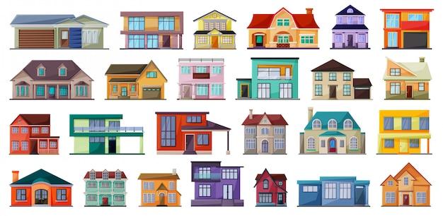 Villa de dibujos animados casa establece icono. Vector Premium
