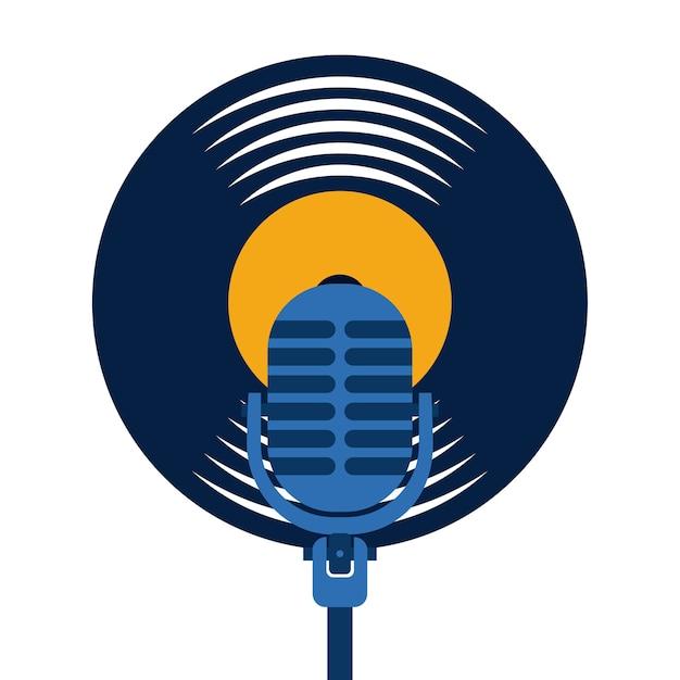 Vinilo disco micrófono vintage jazz música concepto Vector Premium