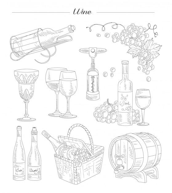 Vino y accesorios, conjunto dibujado a mano Vector Premium