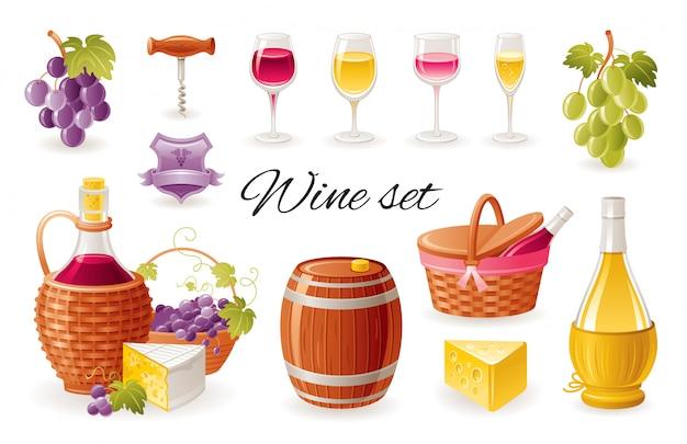Vino haciendo iconos de dibujos animados. bebida de alcohol con uvas, botellas de vino, vasos, barril, queso. Vector Premium