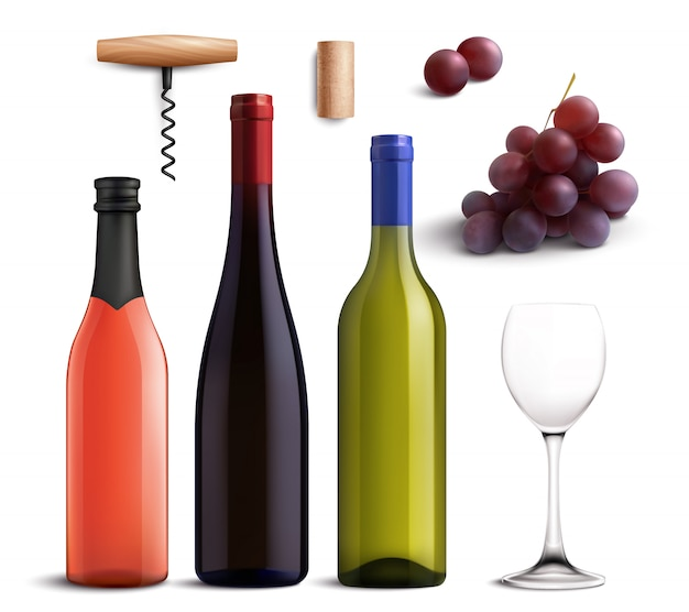 Vino realista con vino tinto y blanco y uvas. vector gratuito