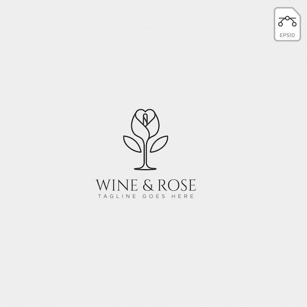 Vino y rosa logotipo plantilla vector aislado, elementos de icono Vector Premium