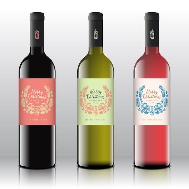 Vino tinto, blanco y rosado en las botellas realistas. vector gratuito