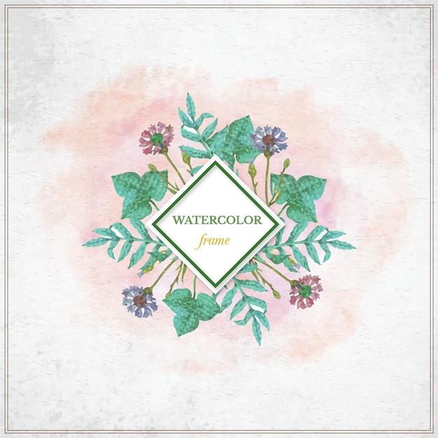 Vintage acuarela marco floral con la tipografía Vector Premium