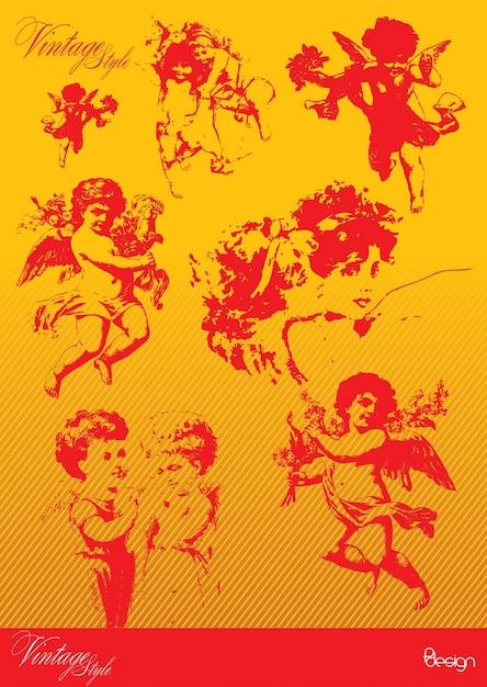 Vintage ángeles Vector Gratis