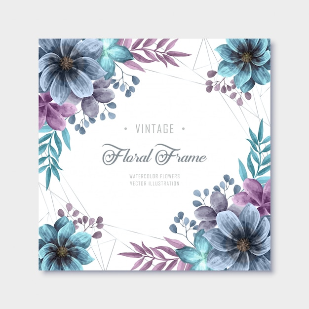 Vintage azul púrpura acuarela flores marco de fondo Vector Premium