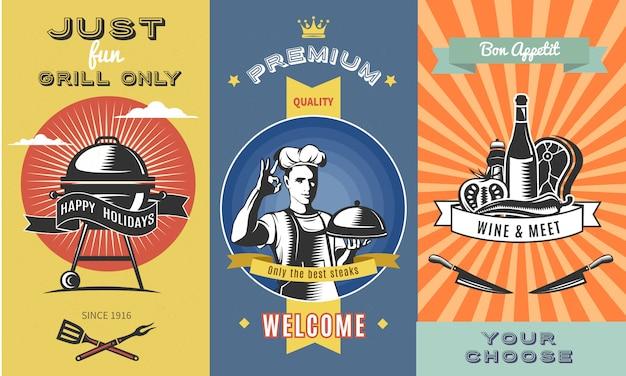 Vintage barbacoa color ilustración vertical con parrilla chef sosteniendo plato tenedor espátula vino cuchillos carne vector gratuito