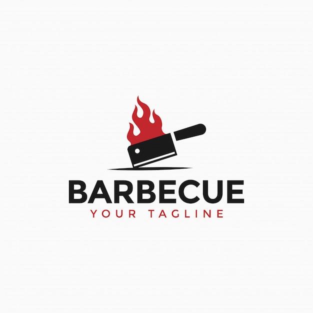 Vintage barbecue grill, bbq, steak con el logotipo de la cuchilla ardiente Vector Premium