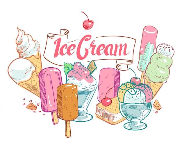 Vintage boceto fruta helado verano cartel Vector Premium