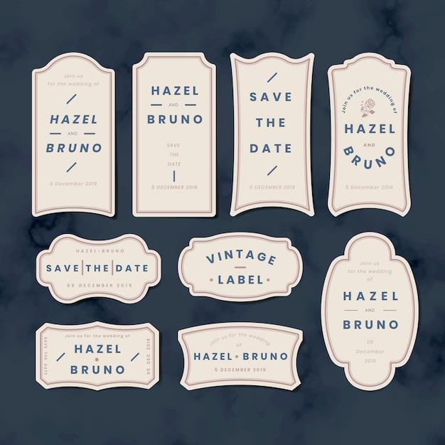 Vintage boda invitación etiqueta etiqueta conjunto de vectores vector gratuito