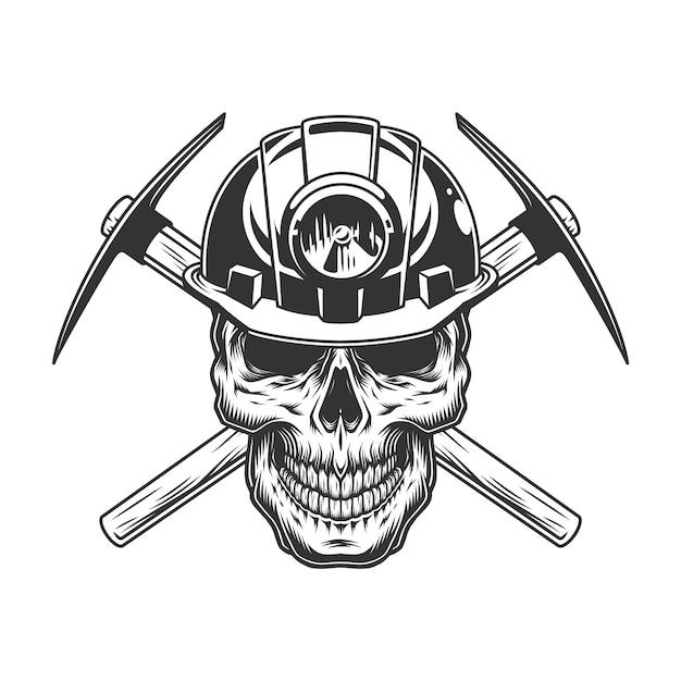 Vintage cráneo monocromo en casco de minero vector gratuito