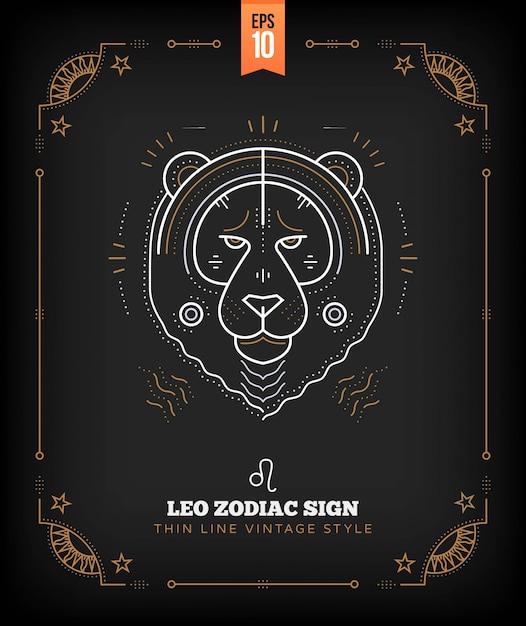 Vintage delgada línea leo signo del zodiaco etiqueta. símbolo astrológico retro, místico, elemento de geometría sagrada, emblema, logotipo. ilustración de contorno de trazo Vector Premium