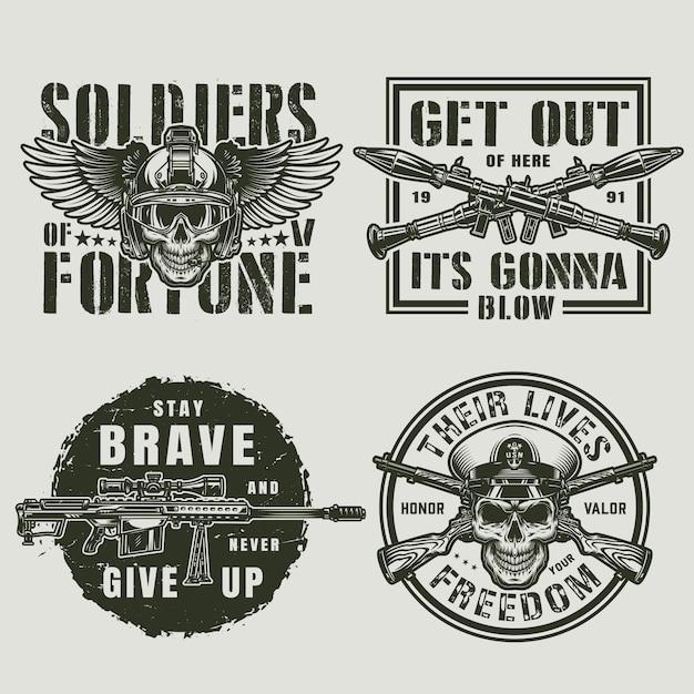 Vintage emblemas militares y militares vector gratuito