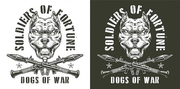 Vintage emblemas monocromos militares vector gratuito
