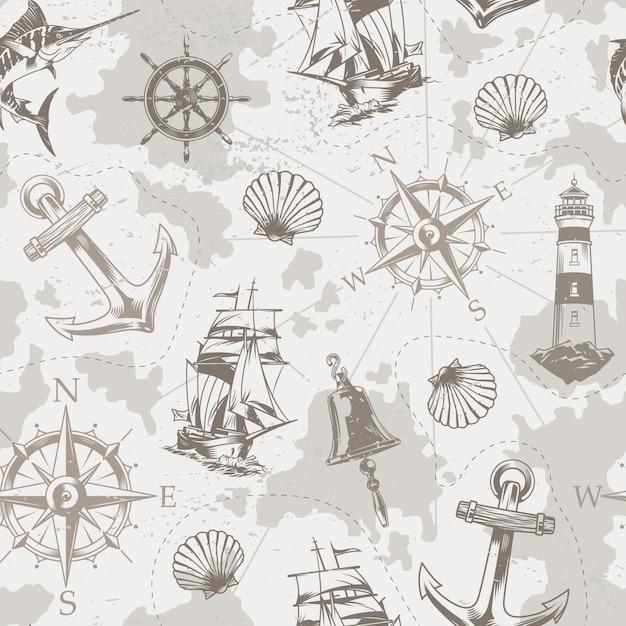 Vintage mar y marinos de patrones sin fisuras vector gratuito