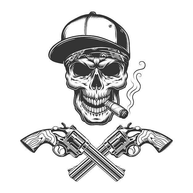 Vintage monocromo bandido cráneo fumar cigarro vector gratuito
