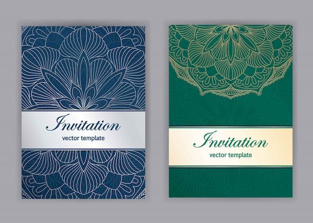 Vintage tarjetas con patrón de mandala floral y adornos. islam, árabe, indio, motivos otomanos. invitación o diseño de tarjetas de felicitación con adornos orientales. Vector Premium