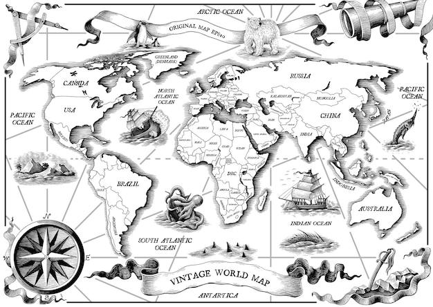 Vintage viejo mundo mapa mano dibujar estilo de grabado imágenes prediseñadas en blanco y negro sobre blanco vector gratuito