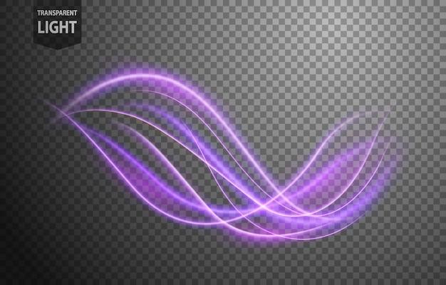 Violeta abstracta ondulada línea de luz Vector Premium