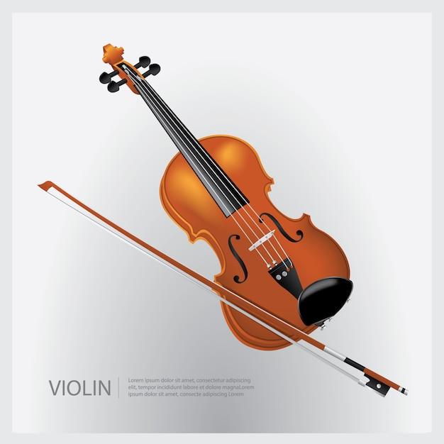 El Violin Realista De Instrumento Musical Con Una Ilustracion