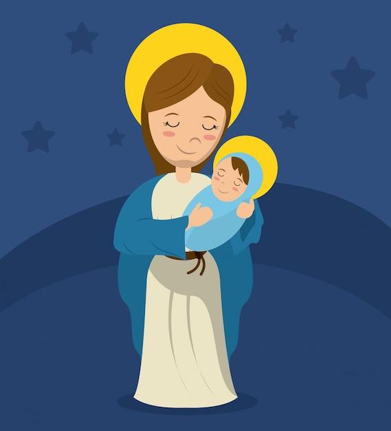 Virgen María Y Niño Jesús Fondo Azul Descargar Vectores Premium