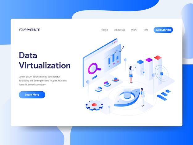 Virtualización de datos isométrica para página web Vector Premium
