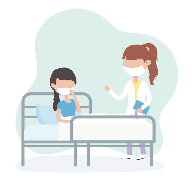 Virus covid 19 cuarentena, mujer con máscara en cama médico del hospital Vector Premium