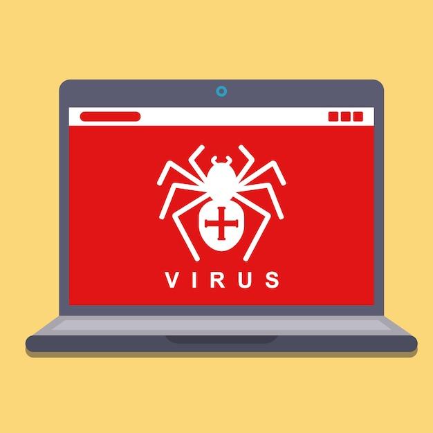 Virus informático en una computadora portátil. piratería de software espía. ilustración vectorial plana Vector Premium