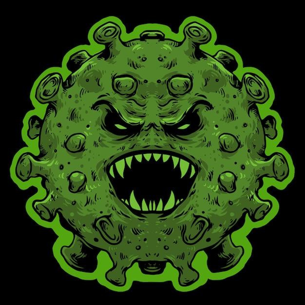Virus monstruo cara de miedo covid corona   Vector Premium
