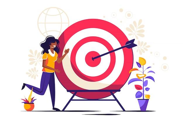 Visión empresarial, gran objetivo con mujer, trabajo en equipo Vector Premium