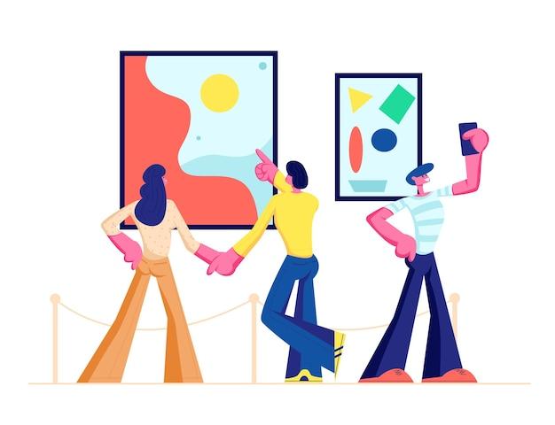 Visitantes de la exposición viendo pinturas abstractas modernas colgadas en las paredes de la galería de arte contemporáneo Vector Premium