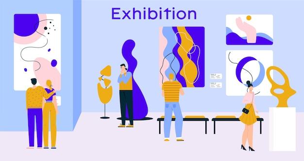 Visitantes de personas en exposición de arte contemporáneo en galería. hombre, mujer, pareja mirando pinturas abstractas, obras de arte creativas, esculturas modernas en la sala del museo Vector Premium