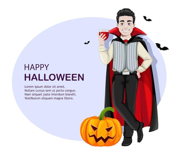 Víspera de todos los santos. personaje de dibujos animados de vampiro alegre Vector Premium