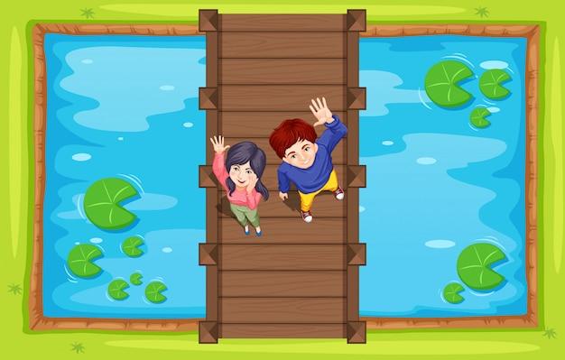 Vista aérea de personas en puente vector gratuito