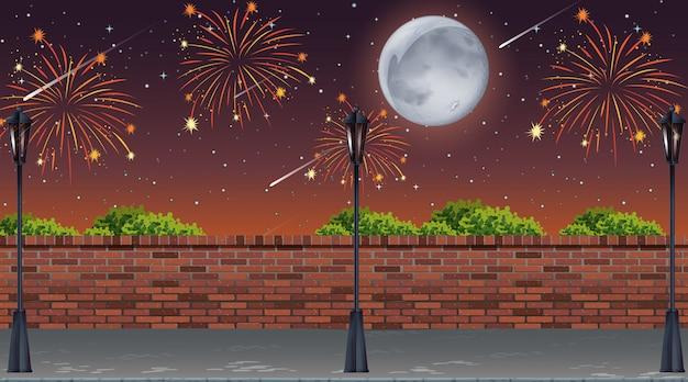 Vista a la calle con escena de fuegos artificiales de celebración vector gratuito