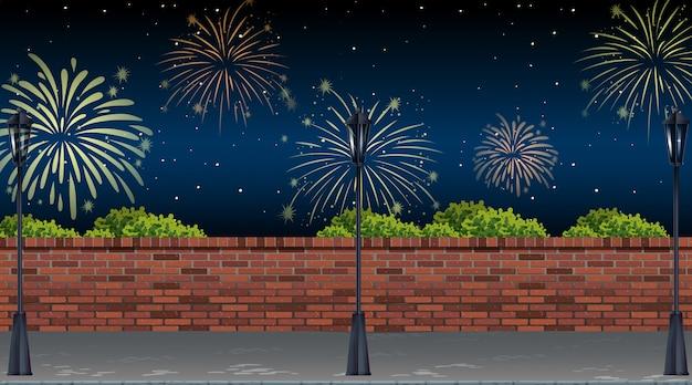 Vista de la calle con escena de fuegos artificiales de celebración Vector Premium