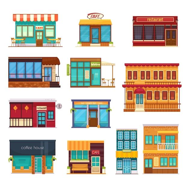 Vista de la calle frente snack bar café cafetería restaurante bistro restaurante iconos planos colección aislado vector gratuito