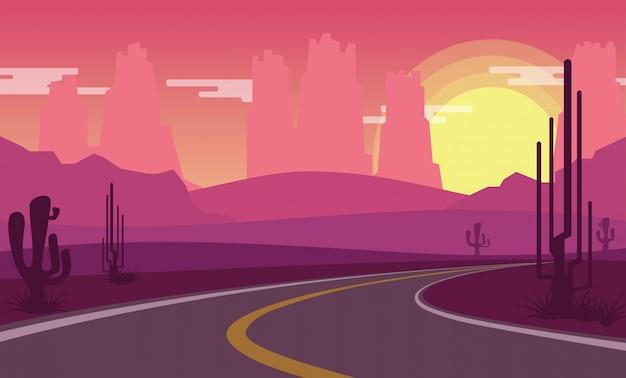 Vista del desierto mientras el sol se pone con un camino rural vacío. Vector Premium
