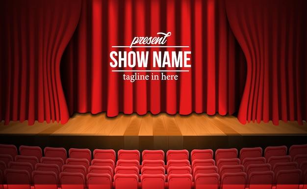 Vista frontal del escenario de la película de cine con telón rojo y piso de madera y asientos rojos vacíos Vector Premium